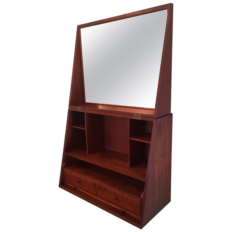 Ingenious and Rare P. Jensen & Knud Frandsen Wall Hanging Toilette Cabinet For Sale
