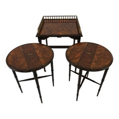 Ingeniously Crafted Set of 3 Mahogany and Hand Painted Stacking Nesting Tables