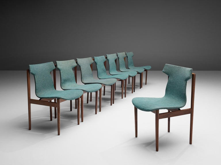 Inge Klingenberg, set of eight dining chairs, rosewood, green fabric upholstery, the Netherlands, 1950s  Set of eight Dutch Mid-Century Modern dining chairs in rosewood by Designer Inger Klingenberg. Notable about these chairs is the distinct