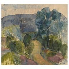 Inger Manne '1911-2008', Sweden, Oil on Canvas, Modernist Landscape, Dated 1973