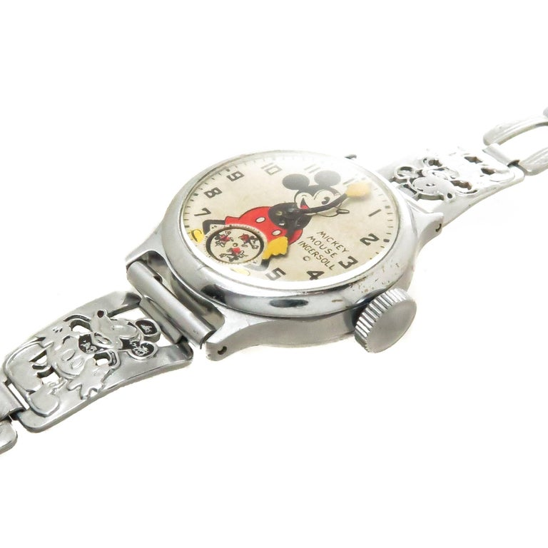 Circa 1933 Ingersoll Mickey Mouse Wrist Watch, This watch belonged to American Artist and Sculptor Ernest Trova ( 1927-2009 ) I had the pleasure of knowing Mr. Trova in the Early 1990s, we shared the same interest in vintage Disney Character