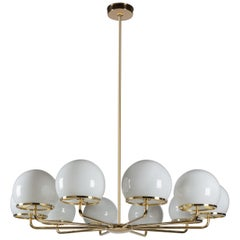 Ingersoll Round Ten-Arm Chandelier with Milk Glass Shades on a Solid Brass Frame