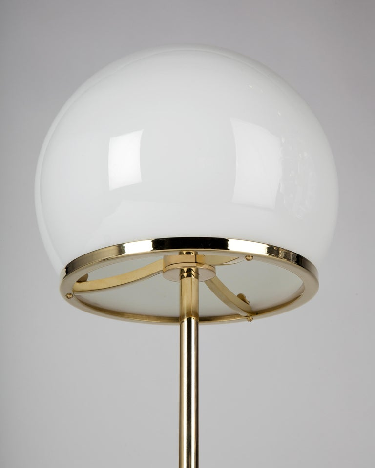 Modern Ingersoll Table Lamp in Polished Brass with Milk Glass Shade by Remains Lighting For Sale