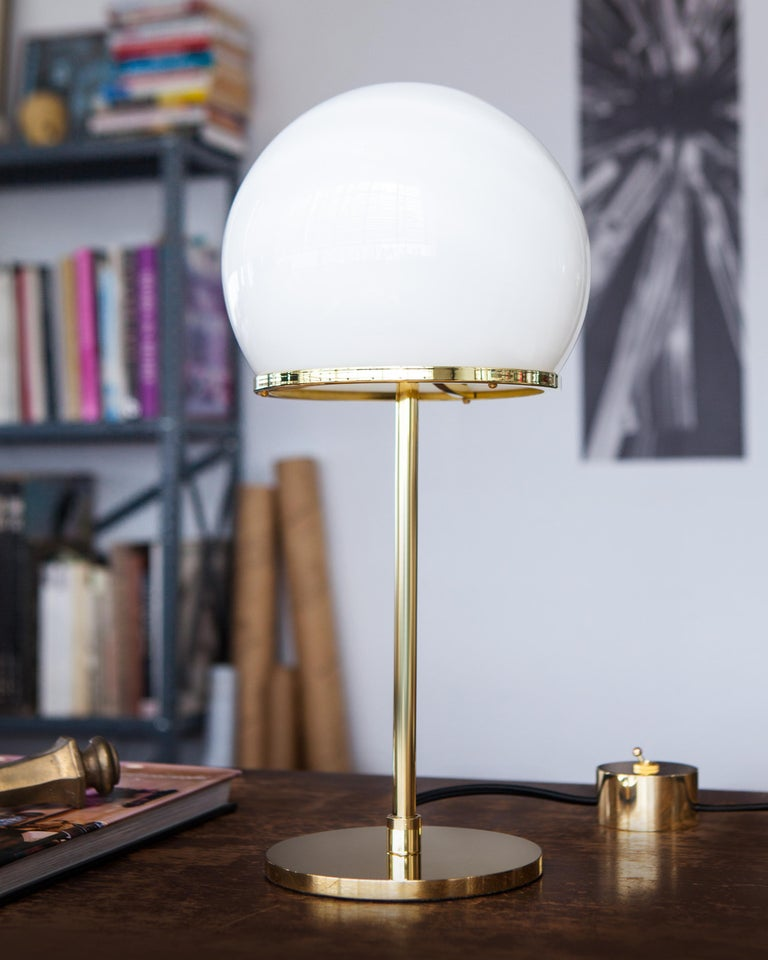 Ingersoll Table Lamp in Polished Brass with Milk Glass Shade by Remains Lighting In New Condition For Sale In New York, NY