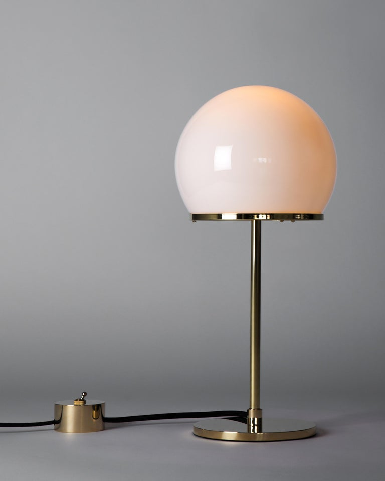 Contemporary Ingersoll Table Lamp in Polished Brass with Milk Glass Shade by Remains Lighting For Sale