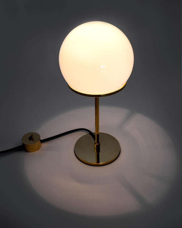 Ingersoll Table Lamp in Polished Brass with Milk Glass Shade by Remains Lighting For Sale 1