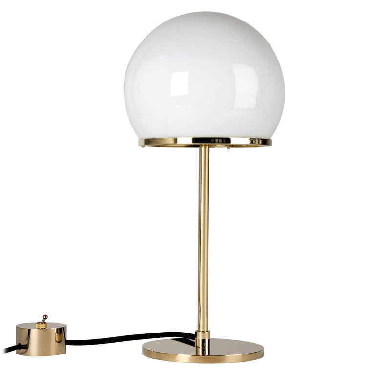 Ingersoll Table Lamp in Polished Brass with Milk Glass Shade by Remains Lighting For Sale