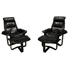 Ingmar Relling Black Leather, Midcentury Danish Lounge Chairs and Ottoman