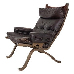 Ingmar Relling for Westnofa Attributed Leather Lounge Chair, Norway, 1970s