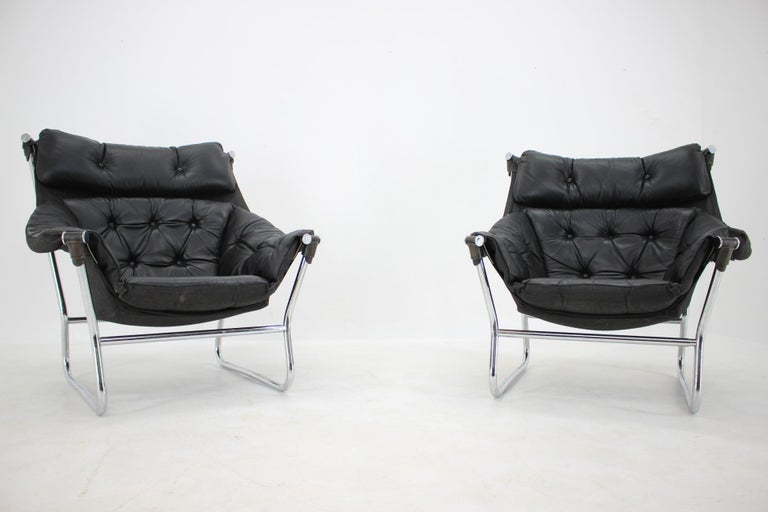 Mid-Century Modern Ingmar Relling for Westnofa Leather and Chrome Armchairs, 1970s For Sale