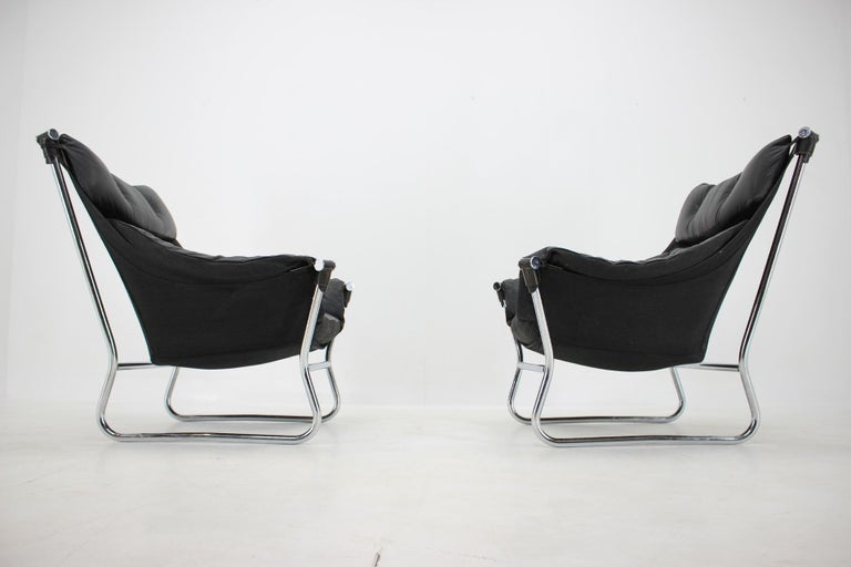Late 20th Century Ingmar Relling for Westnofa Leather and Chrome Armchairs, 1970s For Sale