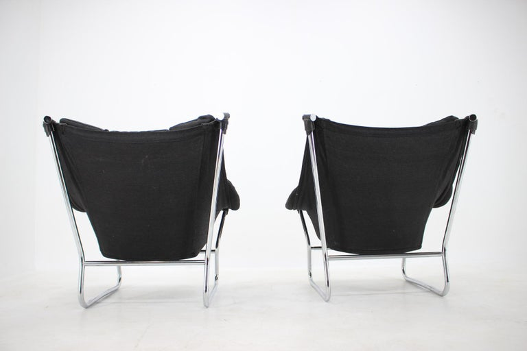 Ingmar Relling for Westnofa Leather and Chrome Armchairs, 1970s For Sale 1