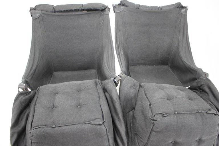 Ingmar Relling for Westnofa Leather and Chrome Armchairs, 1970s For Sale 2