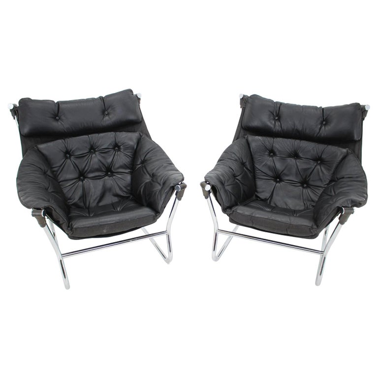 Ingmar Relling for Westnofa Leather and Chrome Armchairs, 1970s For Sale