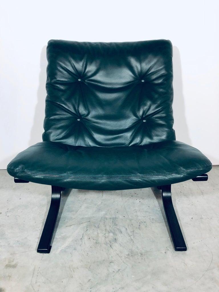 "Ingmar Relling for Westnofa ""Siesta"" Chair in Dark Green Leather, Vintage, 1970s For Sale 6"