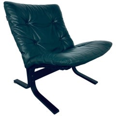 """Ingmar Relling for Westnofa """"Siesta"""" Chair in Dark Green Leather, Vintage, 1970s"""