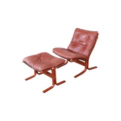 Ingmar Relling for Westnofa Teak and Leather Siesta Lounge Chair and Ottoman