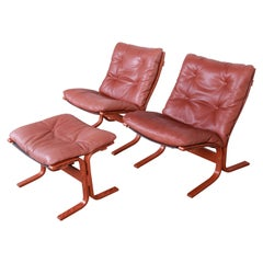 Ingmar Relling for Westnofa Teak and Leather Siesta Lounge Chairs and Ottoman