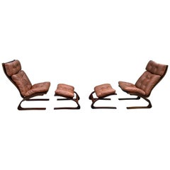 Ingmar Relling Midcentury Lounge Chairs and Ottoman