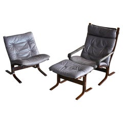 Ingmar Relling Pair of Siesta Chairs with Ottoman in Grey Patinated Leather