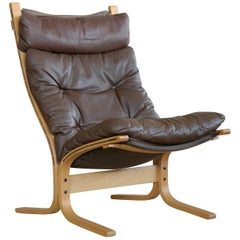 Ingmar Relling Siesta Chair in Espresso colored Patinated Leather for Westnofa