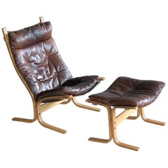 Ingmar Relling Siesta Chair with Ottoman in Brown Patinated Leather by Westnofa