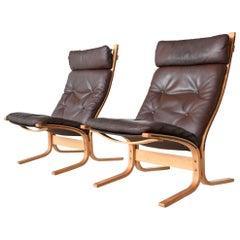 Ingmar Relling Siesta High Back Lounge Chairs Westnofa, Norway, 1960
