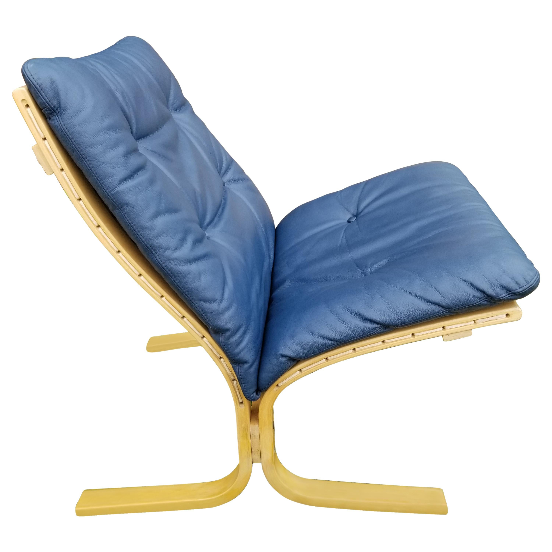 Ingmar Relling Siesta Lounge Chair for Westnofa in Navy Leather Norway, 1960s