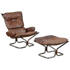 Ingmar Relling Westnofa Leather Chrome Rosewood Lounge Chair & Ottoman of Norway