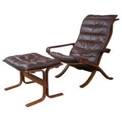 Ingmar Relling Westnofa Leather Lounge Flex Armchair Ottoman Scandinavian MCM