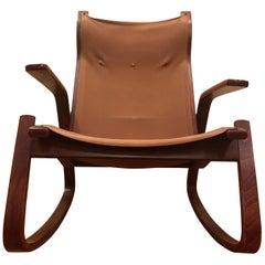 Ingmar Relling Westnofa Norwegian Midcentury Teak Canvas Bentwood Rocking Chair