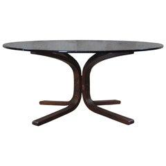 Ingmar Relling Westnofa Teak and Smoked Glass Siesta Coffee Table Round MCM