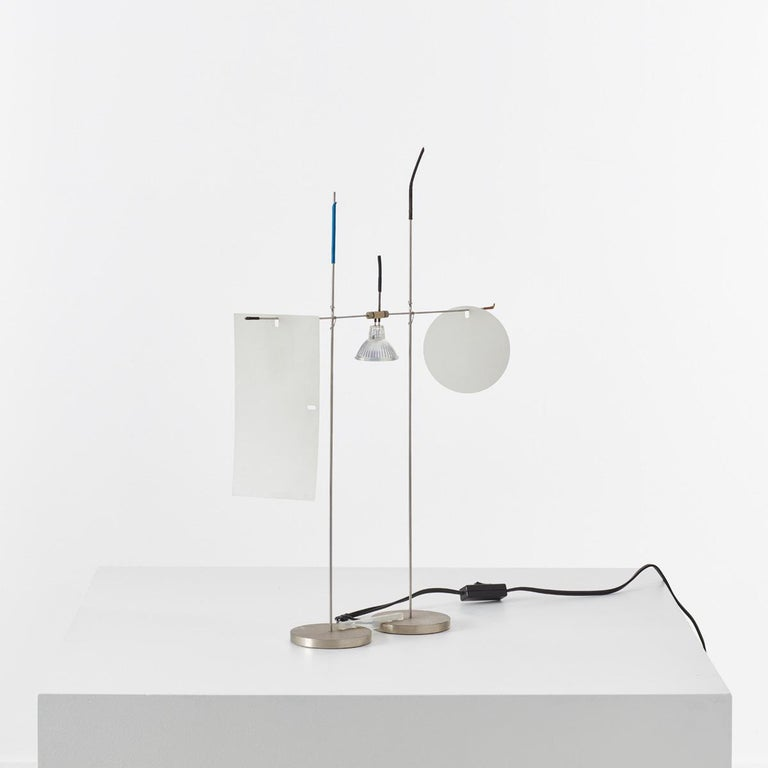 Rare out of production 'Fukushu' lamp by light sculptor Ingo Maurer. Height of the light source is adjustable.