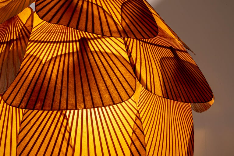 Mid-Century Modern Ingo Maurer Uchiwa Fan Ceiling Lamp in Lacquered Rice-Paper and Bamboo, 1970's For Sale