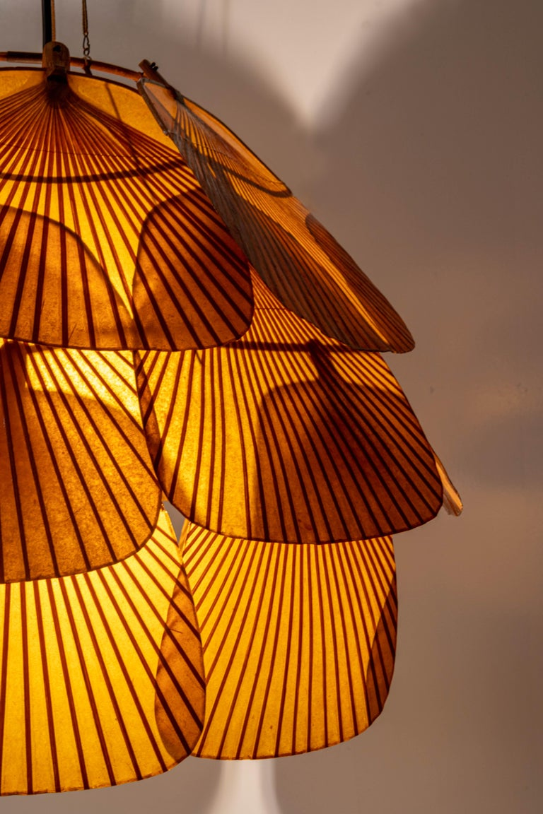 German Ingo Maurer Uchiwa Fan Ceiling Lamp in Lacquered Rice-Paper and Bamboo, 1970's For Sale