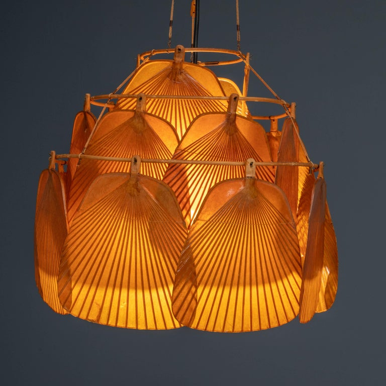 Ingo Maurer Uchiwa Fan Ceiling Lamp in Lacquered Rice-Paper and Bamboo, 1970's In Excellent Condition For Sale In Amsterdam, NL