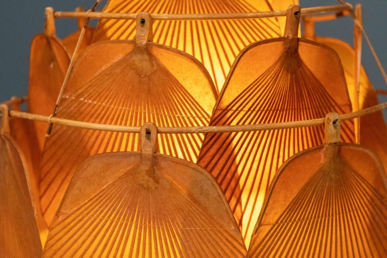 Late 20th Century Ingo Maurer Uchiwa Fan Ceiling Lamp in Lacquered Rice-Paper and Bamboo, 1970's For Sale