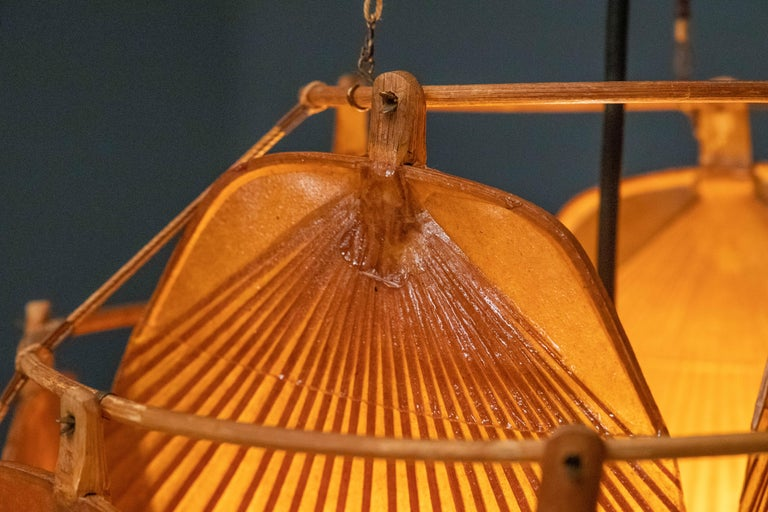 Ingo Maurer Uchiwa Fan Ceiling Lamp in Lacquered Rice-Paper and Bamboo, 1970's For Sale 1
