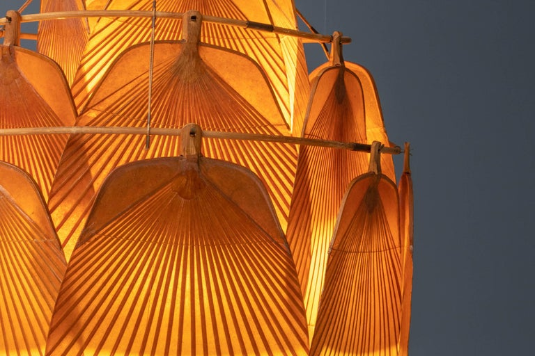 Ingo Maurer Uchiwa Fan Ceiling Lamp in Lacquered Rice-Paper and Bamboo, 1970's For Sale 2