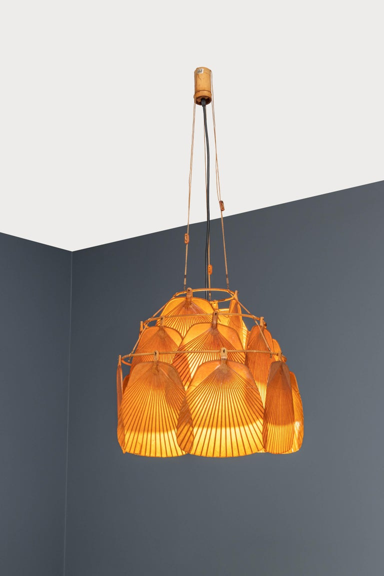 Ingo Maurer Uchiwa Fan Ceiling Lamp in Lacquered Rice-Paper and Bamboo, 1970's For Sale 3