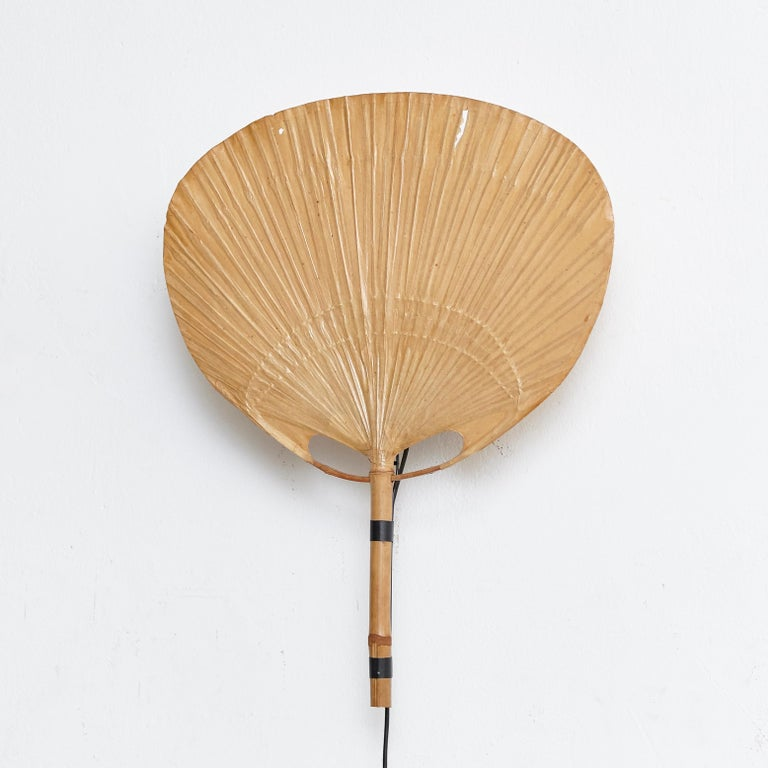 German Ingo Maurer Uchiwa Mid-Century Modern Bamboo Sconce Lamp, circa 1970 For Sale