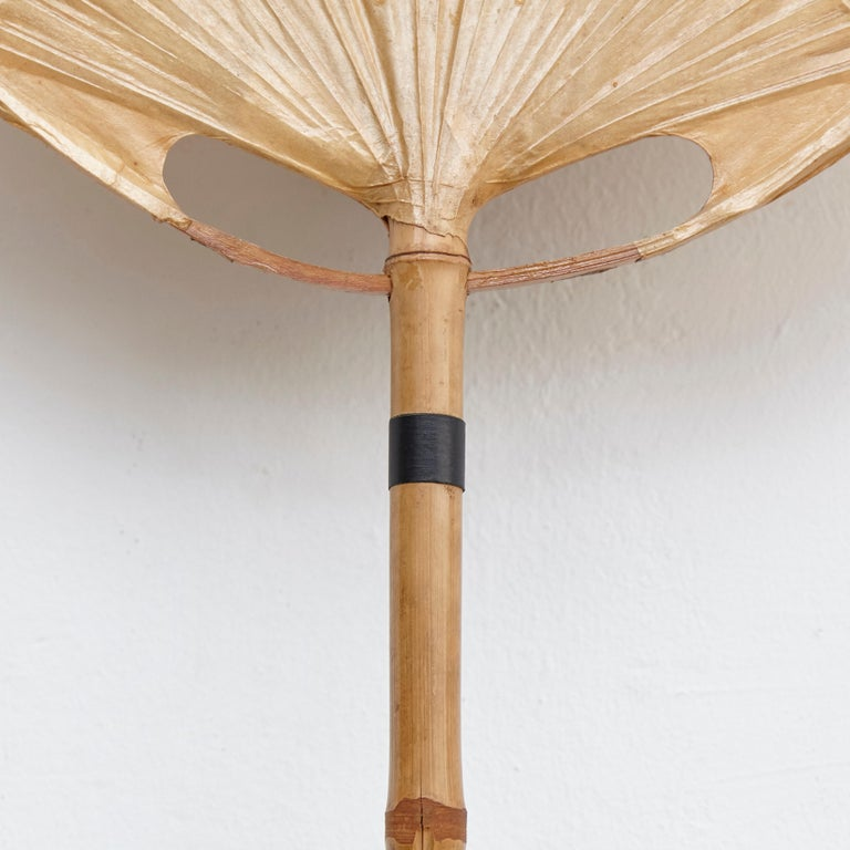 Ingo Maurer Uchiwa Mid-Century Modern Bamboo Sconce Lamp, circa 1970 In Good Condition For Sale In Barcelona, Barcelona