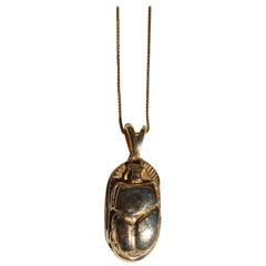 Ingram Cecil 14 Karat Gold Scarab Beetle Pendant Necklace