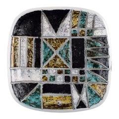 Ingrid Atterberg for Upsala Ekeby, Dish in Glazed Stoneware, Geometric Pattern