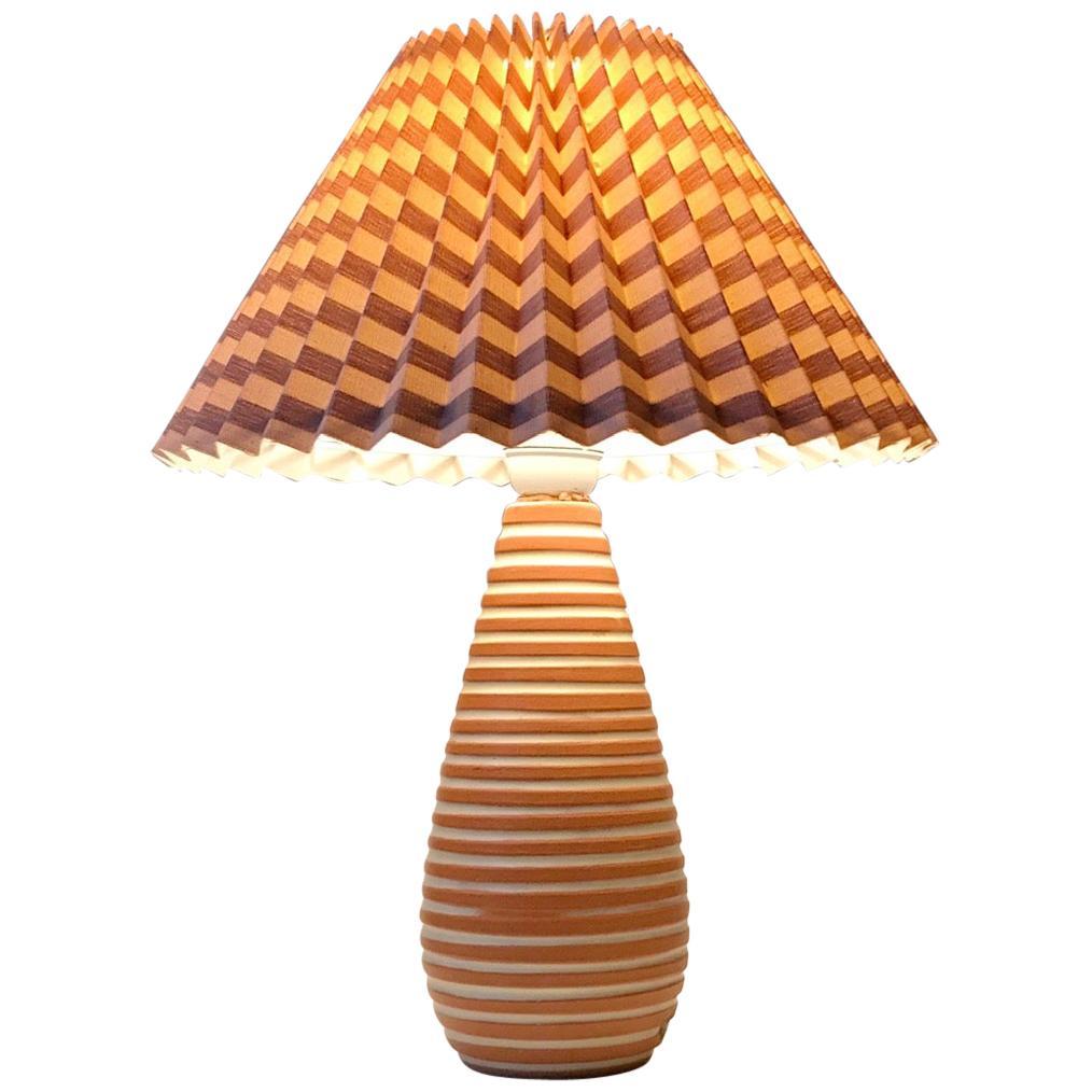 Ingrid Atterberg Striped Rondi Ceramic Table Lamp, Ekeby 1950s