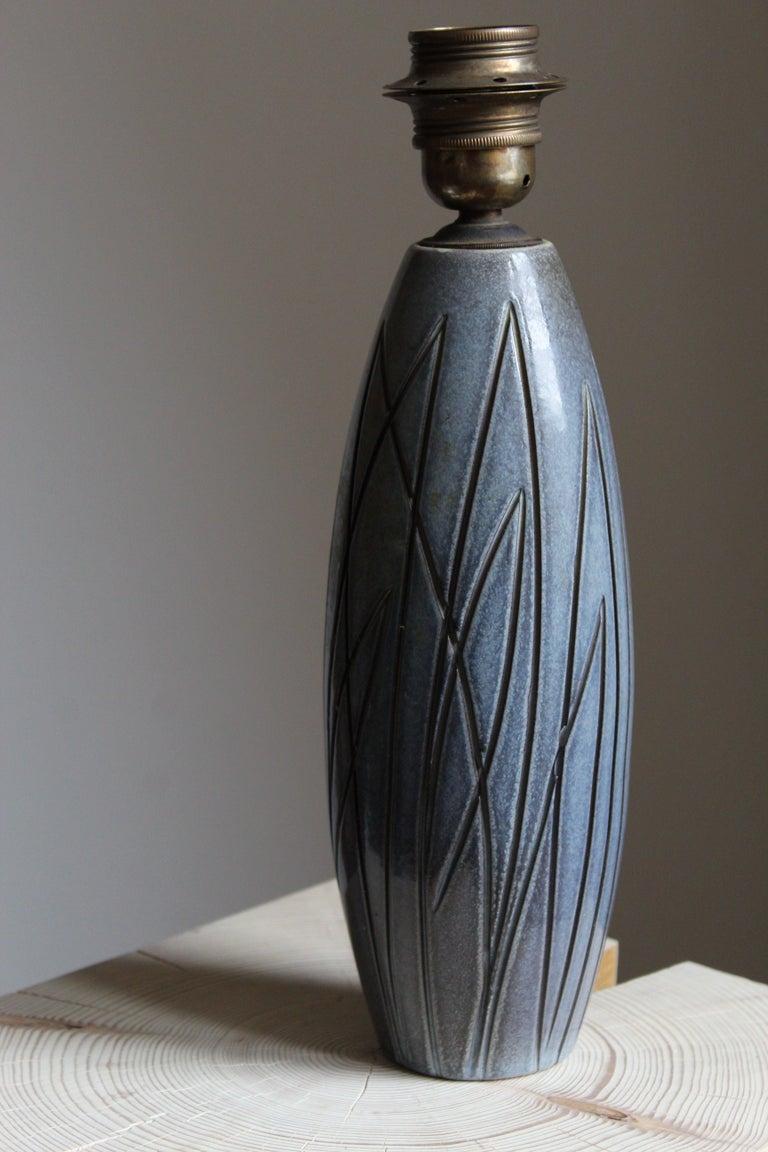 Swedish Ingrid Atterberg, Table Lamp, Ceramic, Brass, Sweden, Upsala Ekeby, 1950s For Sale