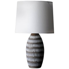 Ingrid Atterberg, Table Lamp, Grey & White Glazed Stoneware, Upsala Ekeby, 1950s