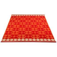 Ingrid Dessau Red Flat Weave Rug, Sweden, 1950s