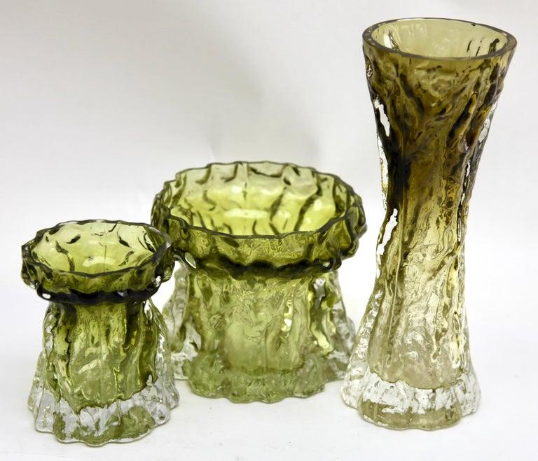 Mid-Century Modern Ingrid Glas 'Germany', Set of Bark Vases in Sage Green, 1970s For Sale