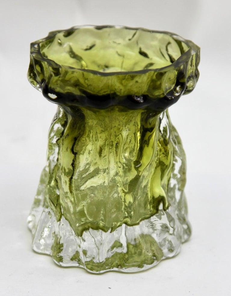 Art Glass Ingrid Glas 'Germany', Set of Bark Vases in Sage Green, 1970s For Sale